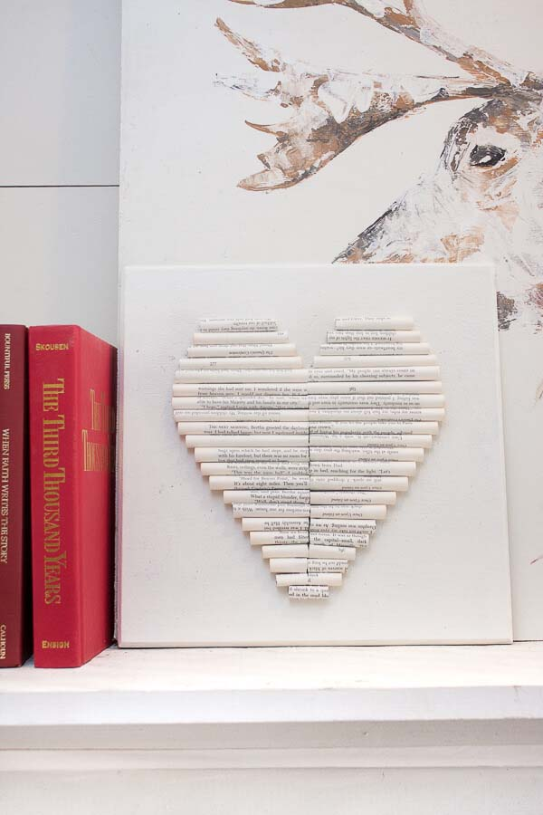 Rolled Book Page Heart Art #valentine #dollarstore #diy #decor #decorhomeideas