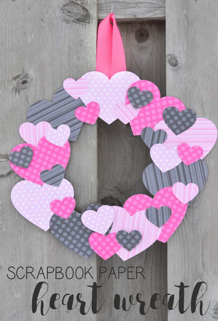 Scrapbook Paper Heart Wreath #valentine #diy #wreaths #decorhomeideas
