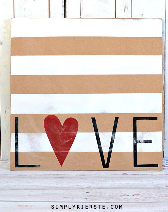 Striped Love Sign #valentine #dollarstore #diy #decor #decorhomeideas