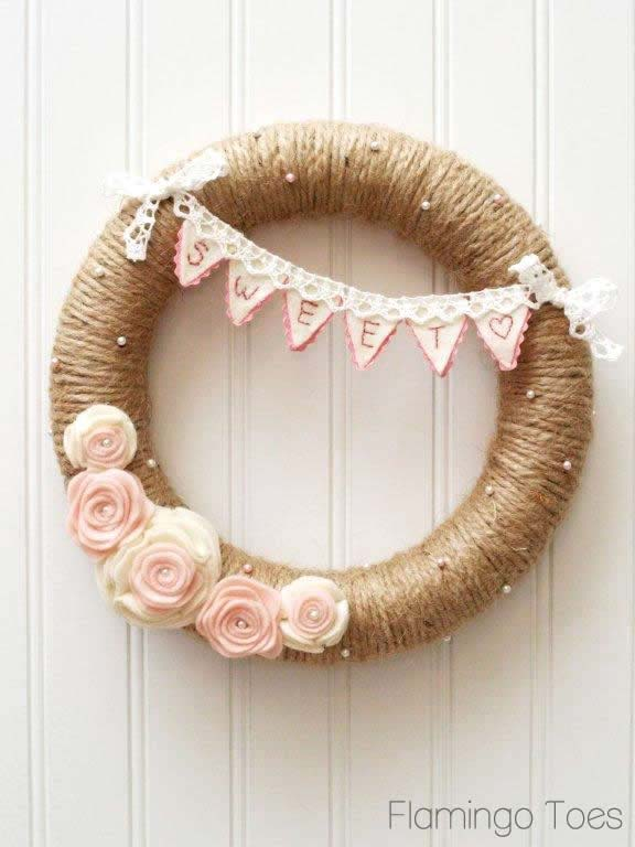 Sweet Heart Valentine Wreath #valentine #diy #wreaths #decorhomeideas
