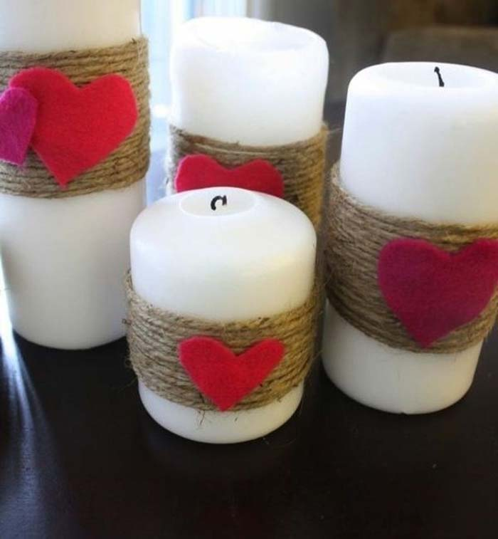 Twine Valentines Day Candles #valentinesday #rustic #decor #diy #decorhomeideas