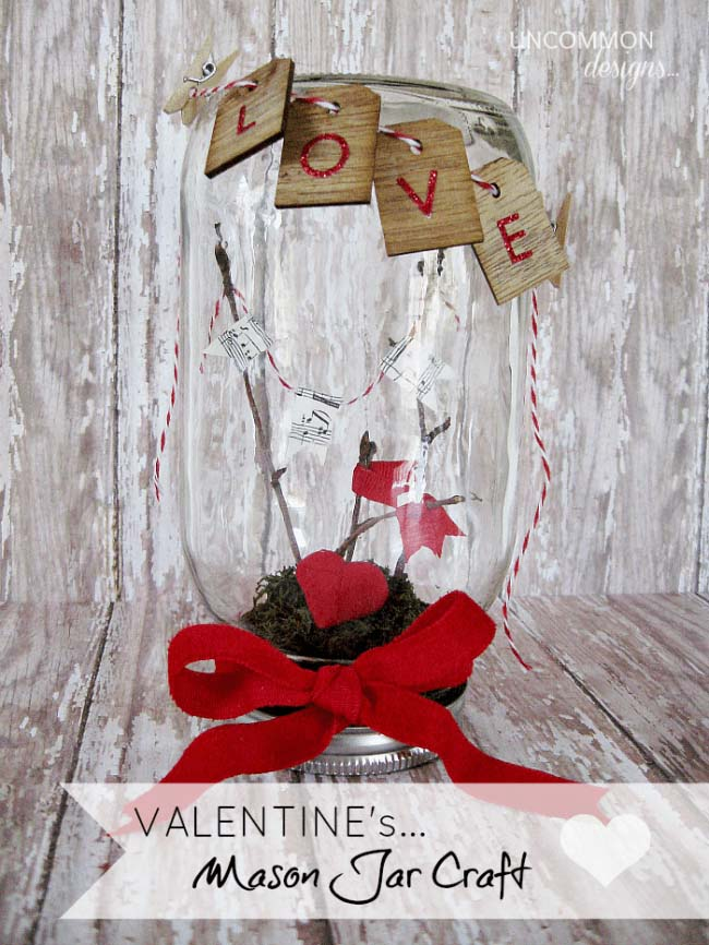 Valentine Day Mason Jar Craft #valentinesday #crafts #jars #gifts #decorhomeideas