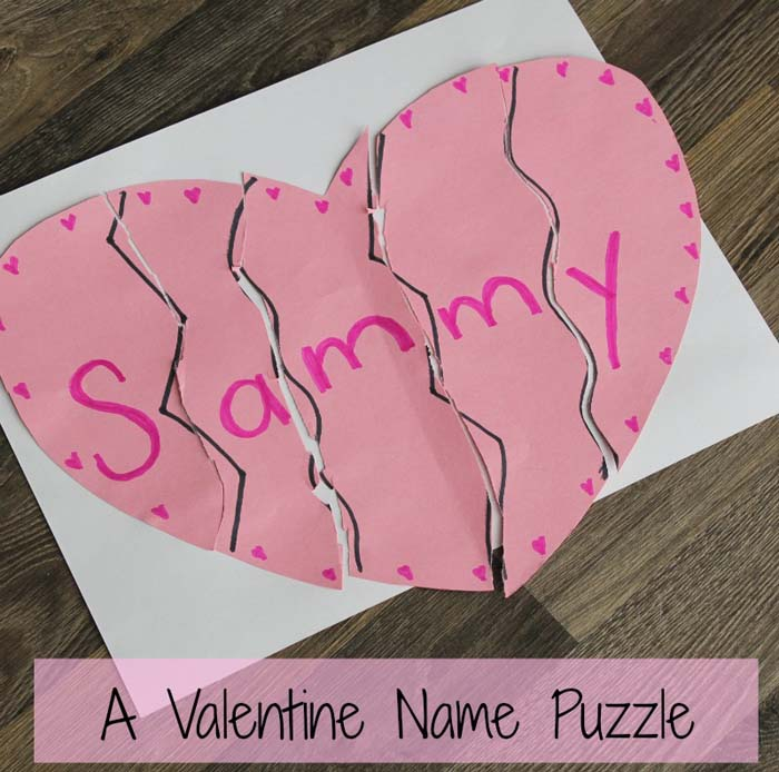Valentine Name Puzzle #valentine #crafts #kids #decorhomeideas