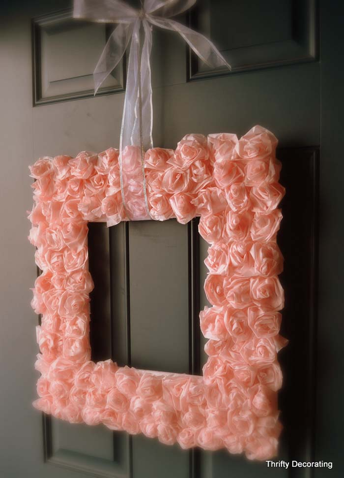 Valentine Rose Square Wreath #valentine #diy #wreaths #decorhomeideas