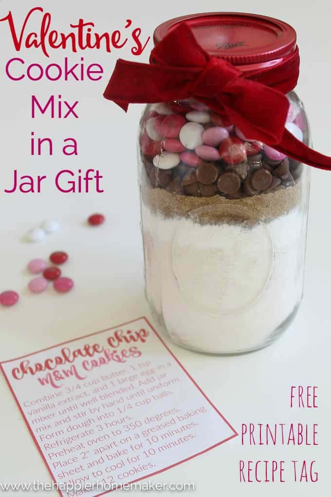Valentines Day Cookie Mix in a Jar #valentinesday #crafts #jars #gifts #decorhomeideas