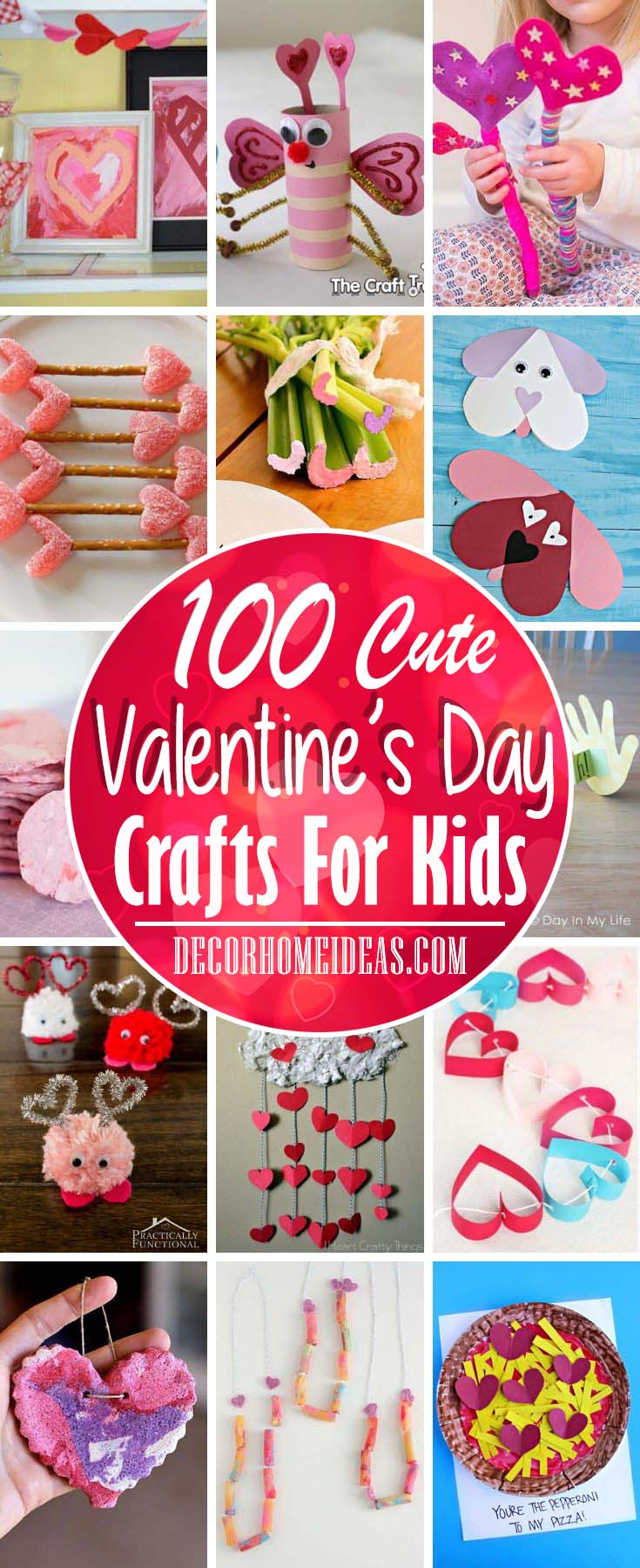 100 Fun and Easy Valentines Day Crafts For Kids. Super cute ideas to get crafty with your kids. #valentine #crafts #kids #decorhomeideas