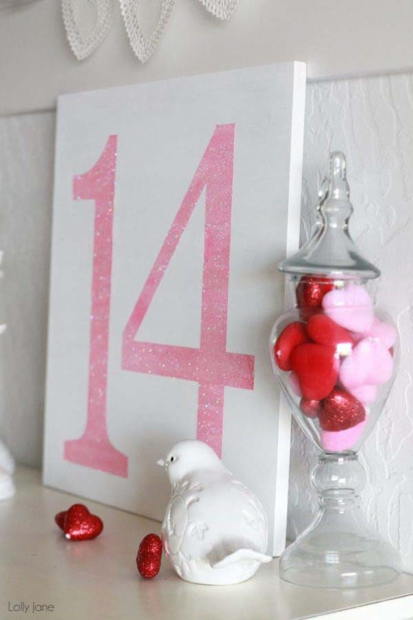 Valentine's Day Glitter Sign #valentine #dollarstore #diy #decor #decorhomeideas