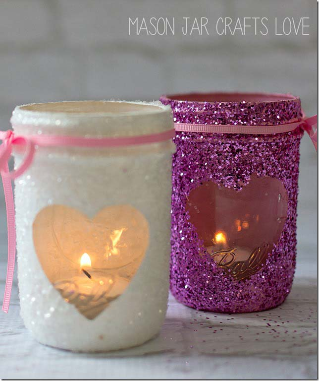 Valentine's Day Glitter Votives #valentine #dollarstore #diy #decor #decorhomeideas