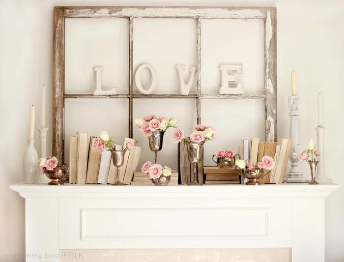 Valentines Day Mantel #valentinesday #rustic #decor #diy #decorhomeideas