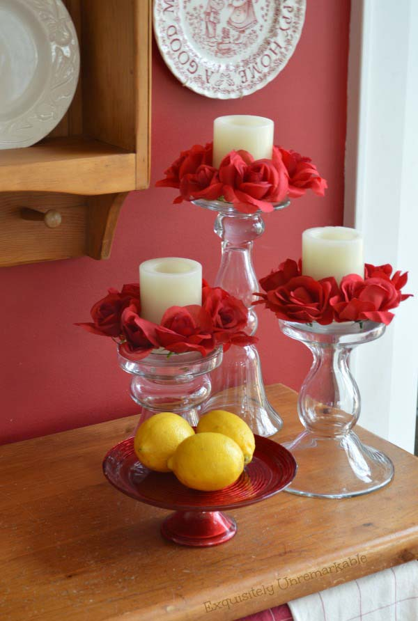 Valentine's Day Rose Candle Rings #valentine #dollarstore #diy #decor #decorhomeideas