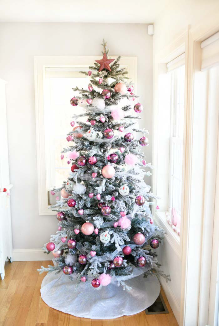 Valentine's Day Tree Pink Ornaments #valentine #tree #diy #decorhomeideas
