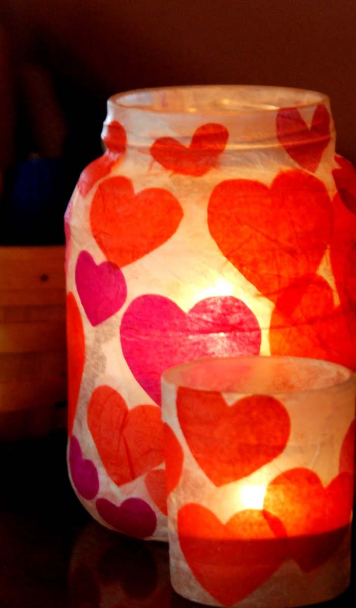Valentine's Day Votives #valentine #dollarstore #diy #decor #decorhomeideas