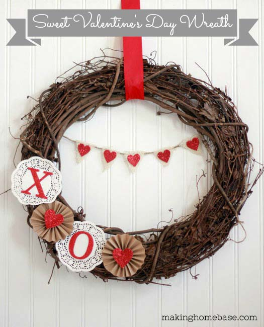 Valentine's Day Wreath #valentine #diy #wreaths #decorhomeideas
