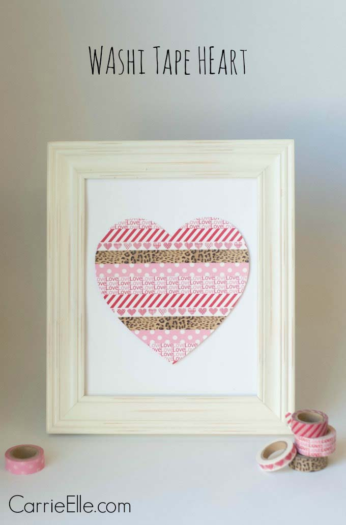 Washi Tape Heart #valentine #dollarstore #diy #decor #decorhomeideas