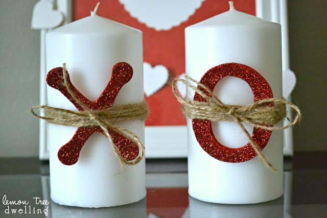 XO Candles #valentine #dollarstore #diy #decor #decorhomeideas