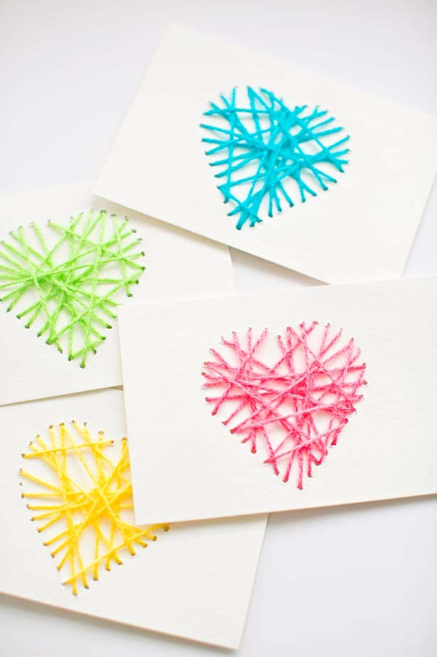 Yarn String Heart Card Kids #valentine #crafts #kids #decorhomeideas