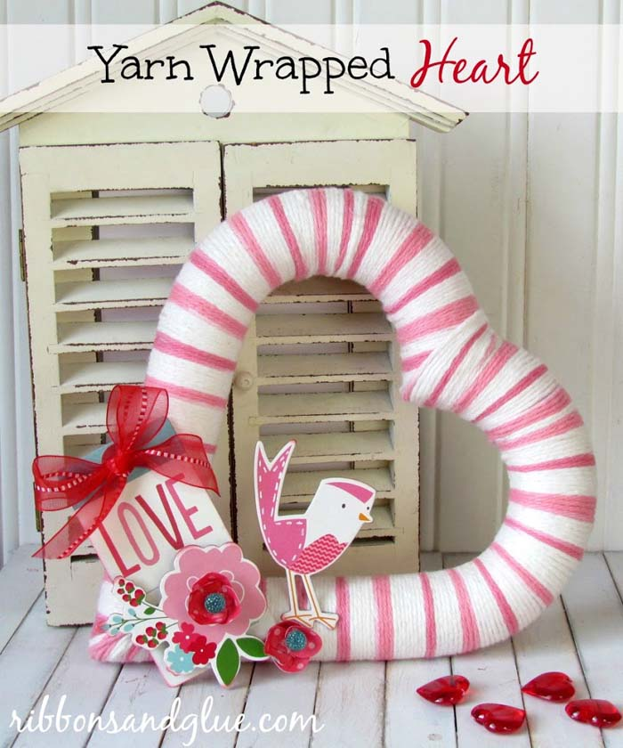 Yarn Wrapped Heart #valentine #dollarstore #diy #decor #decorhomeideas