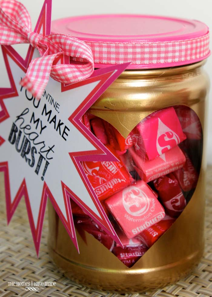 You Make my Heart Burst Jar Idea #valentinesday #crafts #jars #gifts #decorhomeideas
