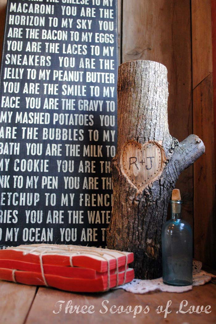 You and Me on a Tree #valentinesday #rustic #decor #diy #decorhomeideas