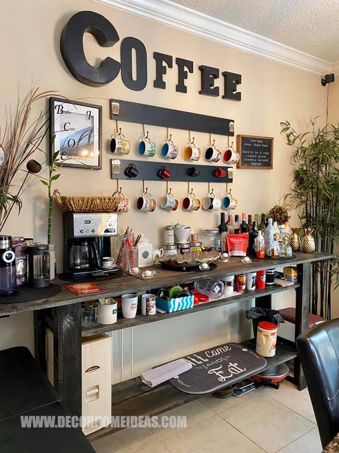 Amazing DIY Coffee Station #coffee #station #diy #decorhomeideas