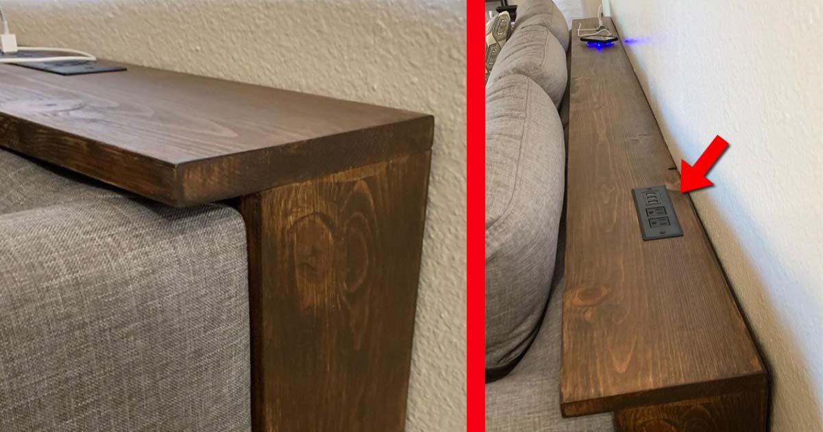 Behind The Couch Table With Outlets
