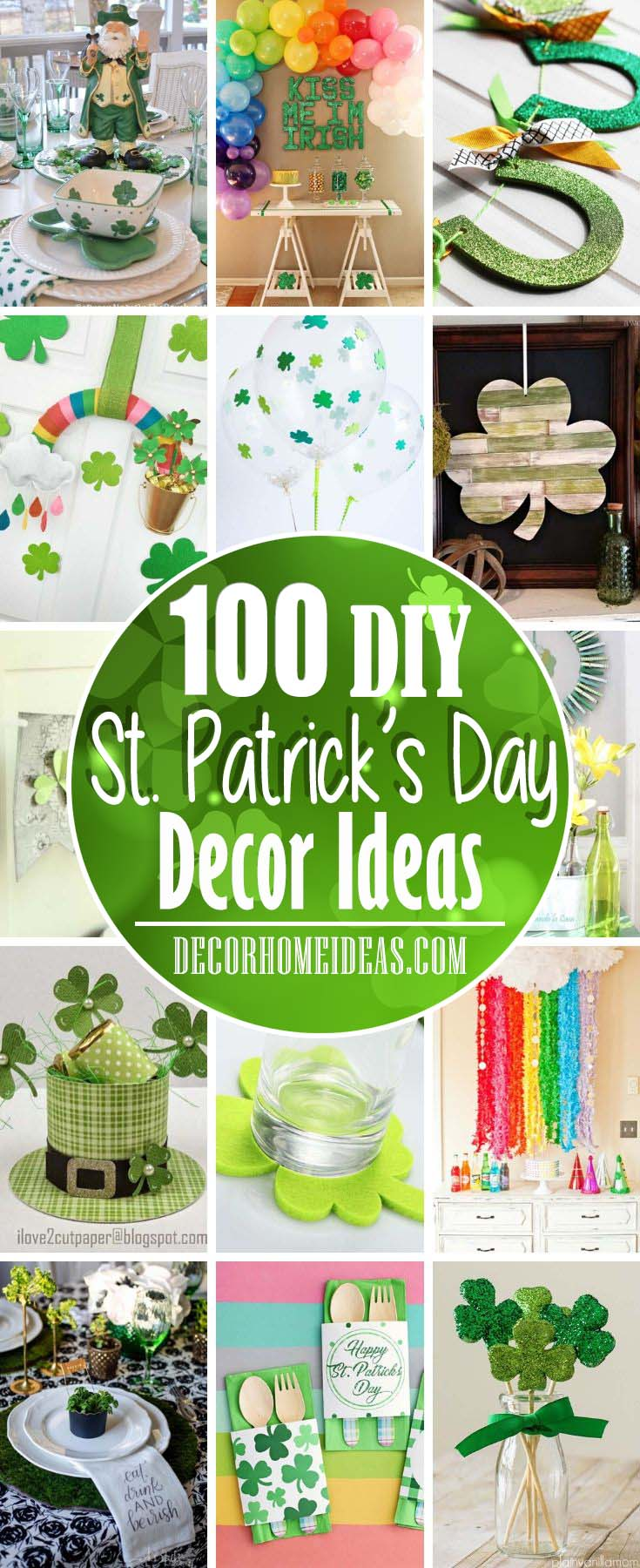 Best DIY St. Patrick's Day Decor Ideas. DIY projects and tutorials on St. Patrick's Day decorations and crafts. #diy #decor #decorations #stpatrick #decorhomeideas