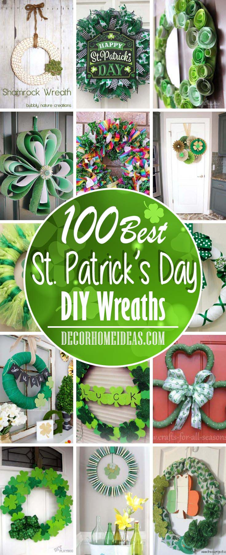 Best DIY Wreaths For St. Patrick's Day. Make a beautiful wreath to hang on your front door. Whether you're throwing a St. Patrick's Day party or celebrating with loved ones, dress up your front door with these fun, festive, and affordable St. Patrick's Day wreaths. #wreath #diy #decorhomeidas