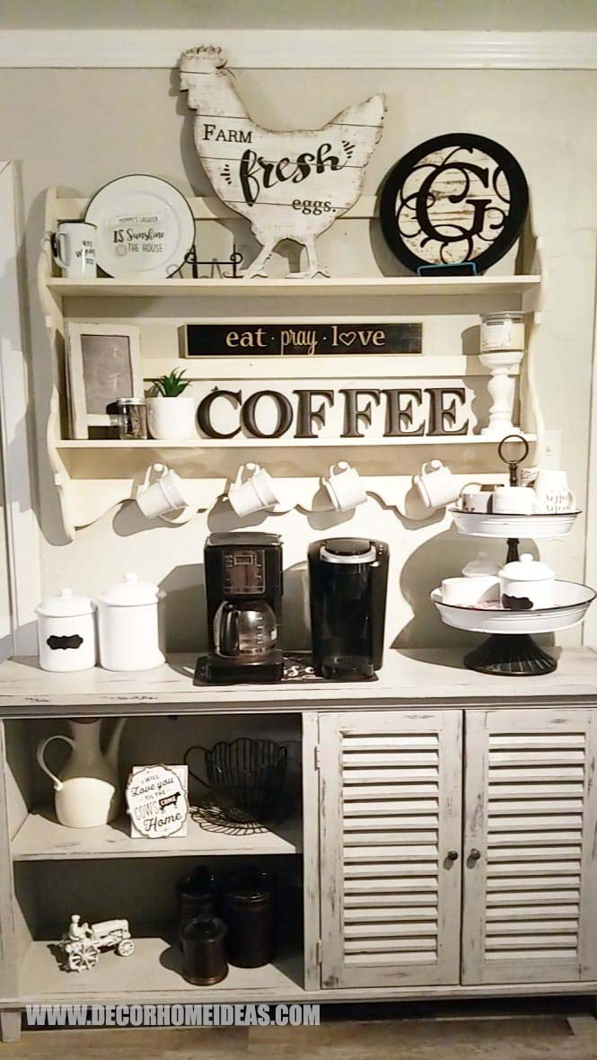Black And White Farmhouse Coffee Station #coffeebar #farmhouse #decorhomeideas