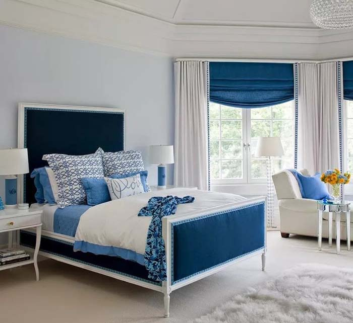 Classic Combination Of Blue And White Colors For Womens' Bedroom #women #bedroom #feminine #decor #decorhomeideas