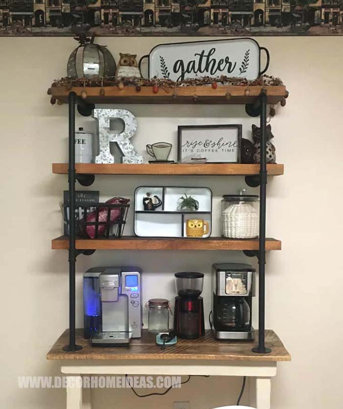 DIY Coffee Station Made From Farmhouse Table and attaching shelves with vintage styled pipes #coffee #bar #diy #farmhouse #decorhomeideas