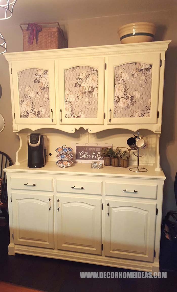 DIY Coffee Bar From An Old Hutch #hutch #coffee #bar #diy #makeover #decorhomeideas