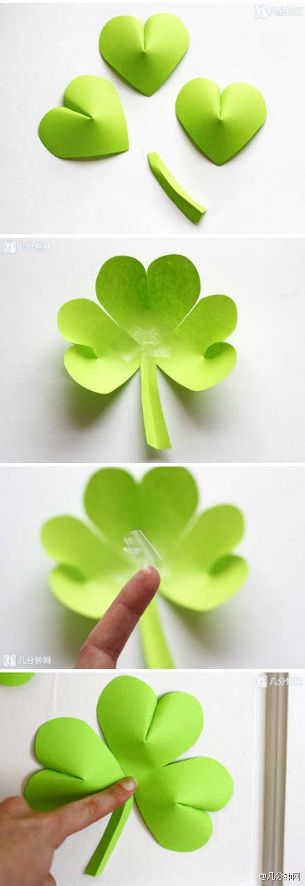 DIY Easy Paper Clover Ornament #stpatrick #diy #decor #decorations #decorhomeideas