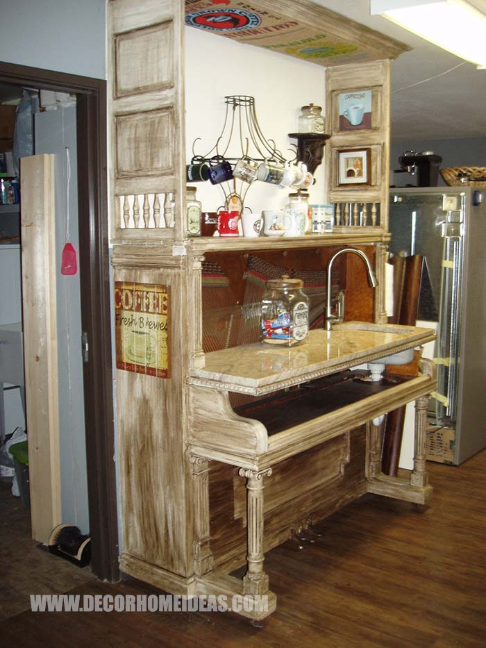Old Piano Turned Into Coffee Bar #coffee #bar #diy #makeover