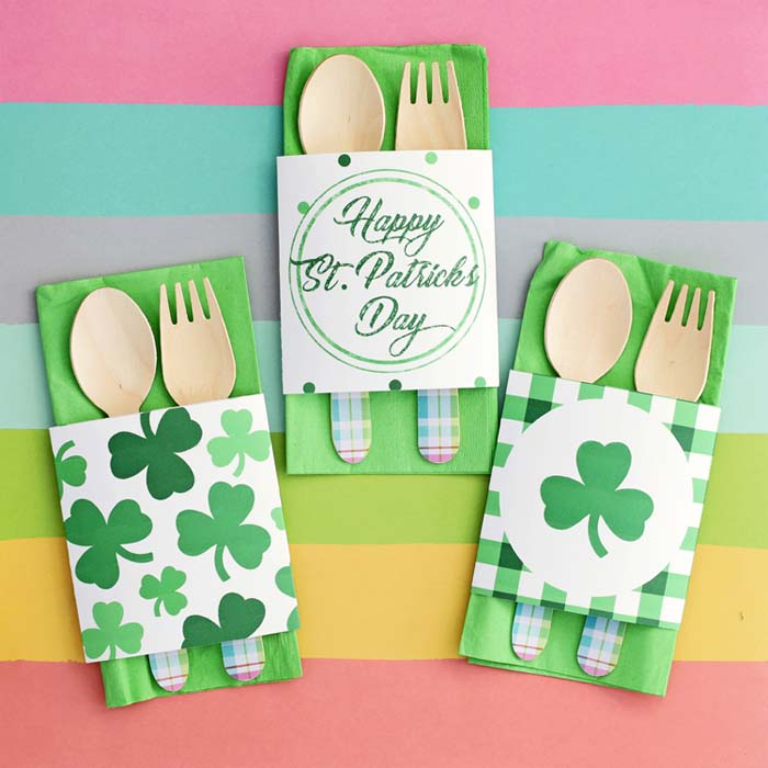 Printable St. Patrick's Day Napkin Wraps #stpatrick #diy #decor #decorations #decorhomeideas