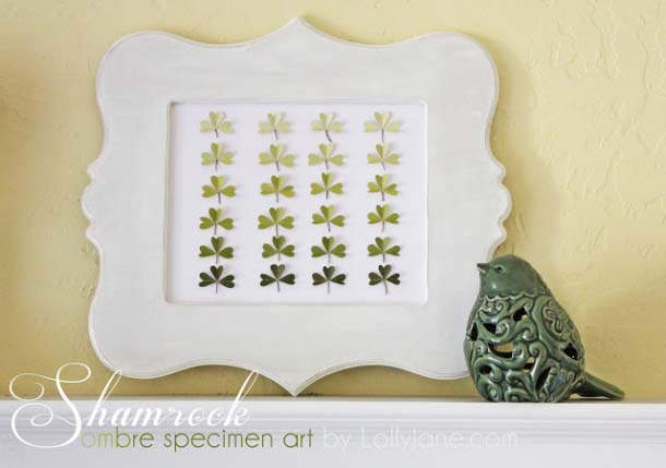 Shamrock St. Patrick's Day Ombre Specimen Art #stpatrick #diy #decor #decorations #decorhomeideas