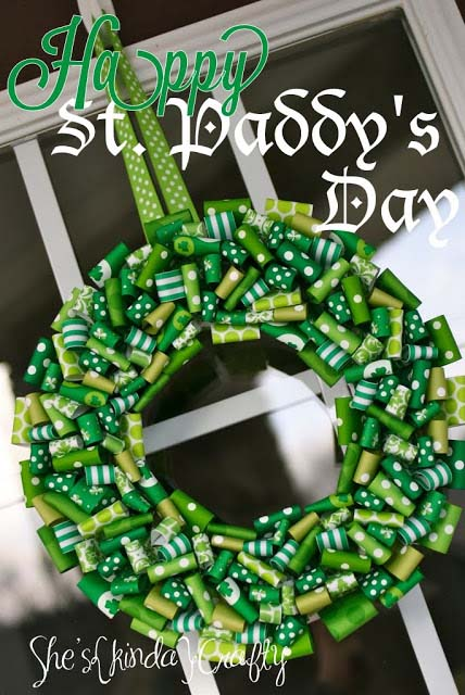 St Paddys Ribbon Wreath #stpatrick #diy #wreath #decorhomeideas