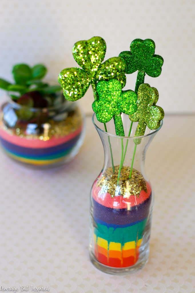 St. Patrick Rainbow Sand Art Terrarium #stpatrick #diy #decor #decorations #decorhomeideas