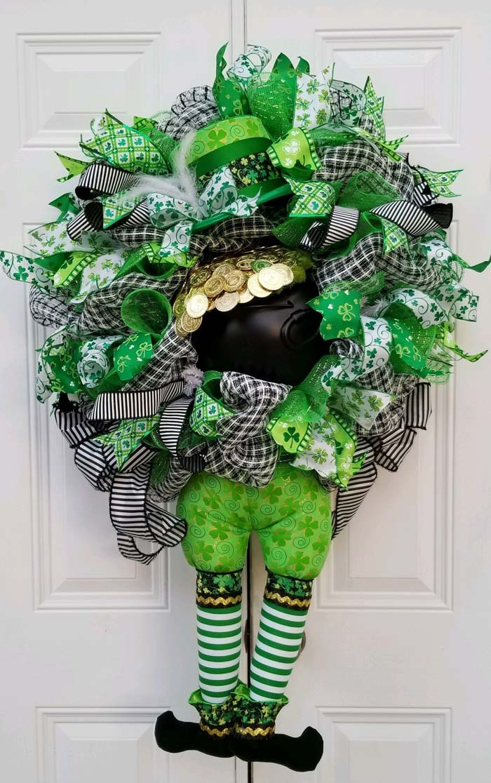 St Patricks Day Decor Wreath #stpatrick #diy #wreath #decorhomeideas