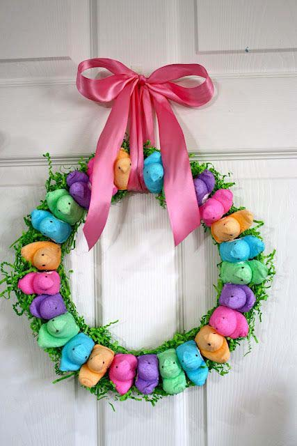 Another Peeps Wreath #easter #diy #porch #decor #decorhomeideas