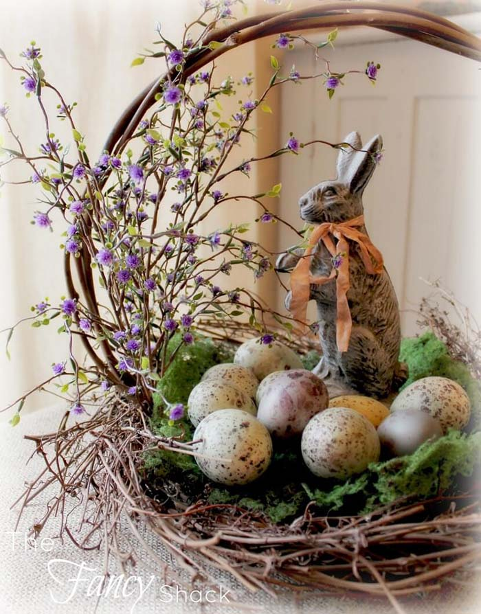Basket with Speckled Eggs #easter #diy #rustic #decor #decorhomeideas