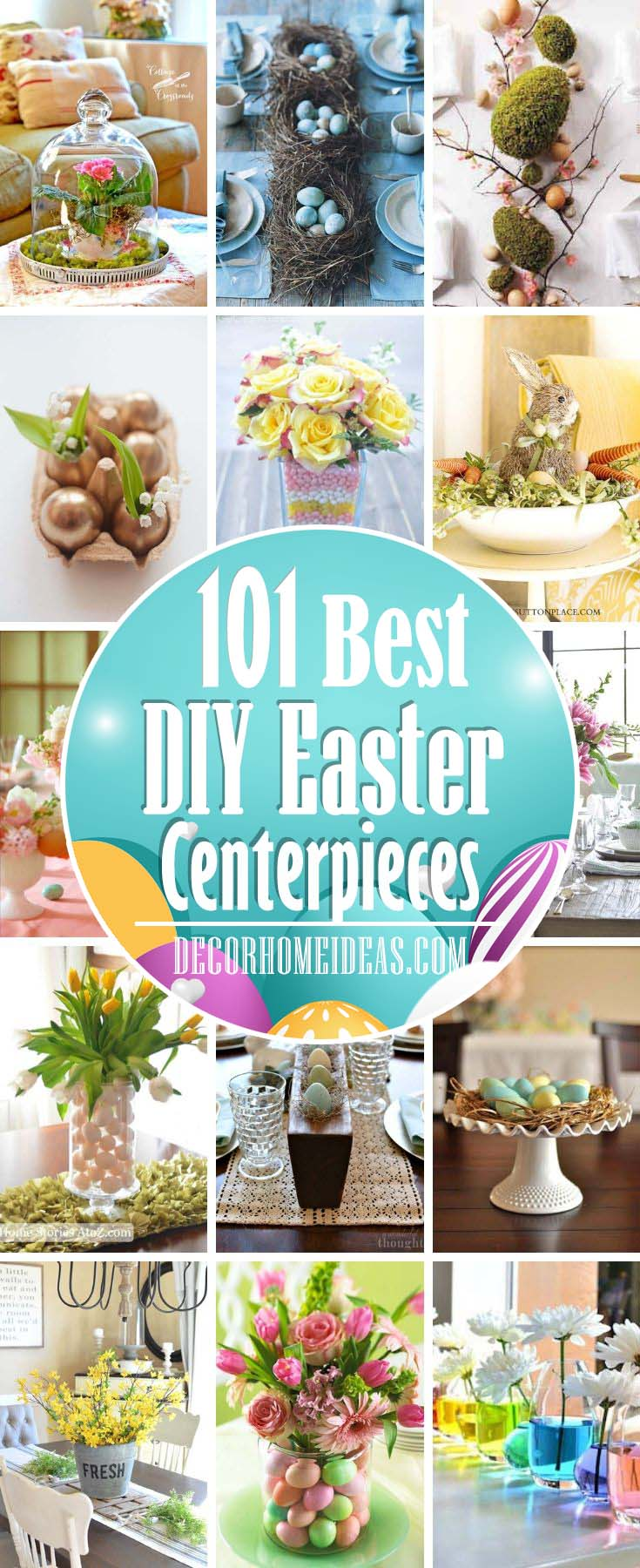 Best DIY Easter Centerpieces. Fresh floral Easter centerpieces, Easter table decorations, place cards, napkins, and more #easter #diy #centerpiece #decorhomeideas