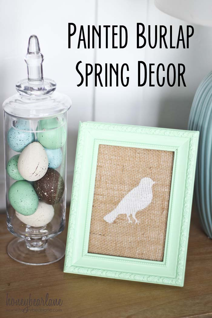 Bird Burlap Art #easter #diy #cheap #decor #decorhomeideas