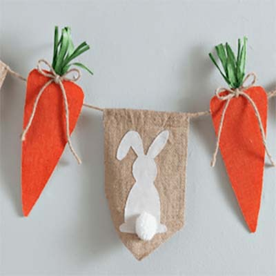 Bunny and Carrot Garland #easter #diy #cheap #decor #decorhomeideas