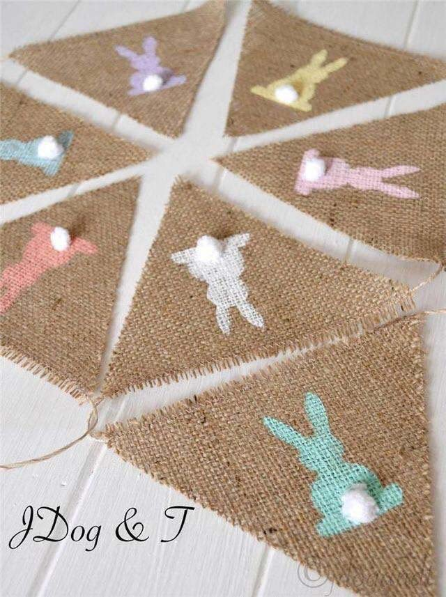 Bunny Burlap Bunting #easter #diy #cheap #decor #decorhomeideas