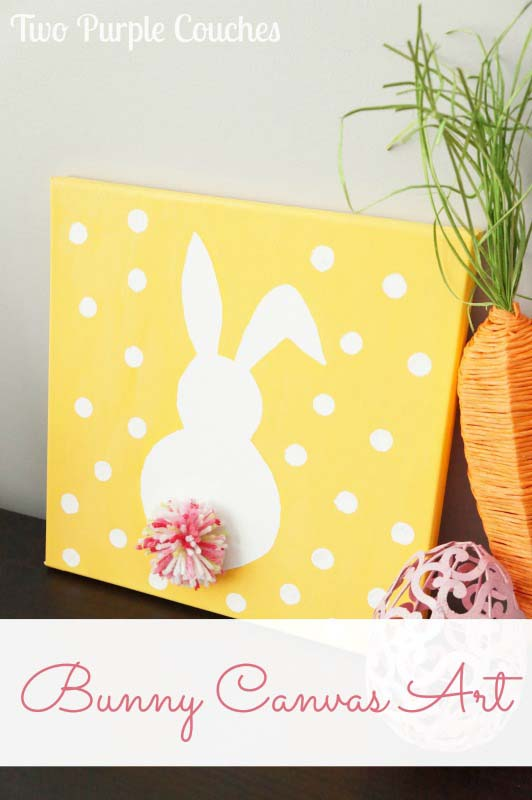 Bunny Canvas Art Two Purple Couches #easter #diy #cheap #decor #decorhomeideas