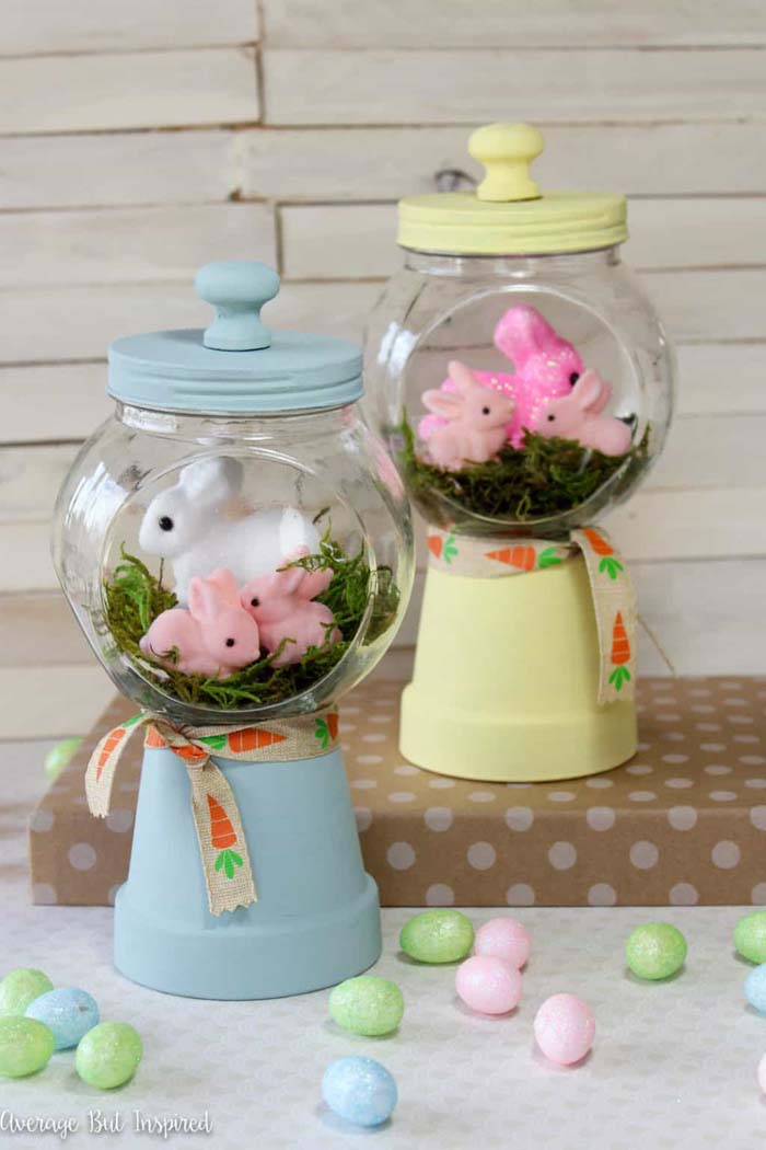 Bunny Gumball Machines #easter #diy #dollarstore #crafts #decorhomeideas