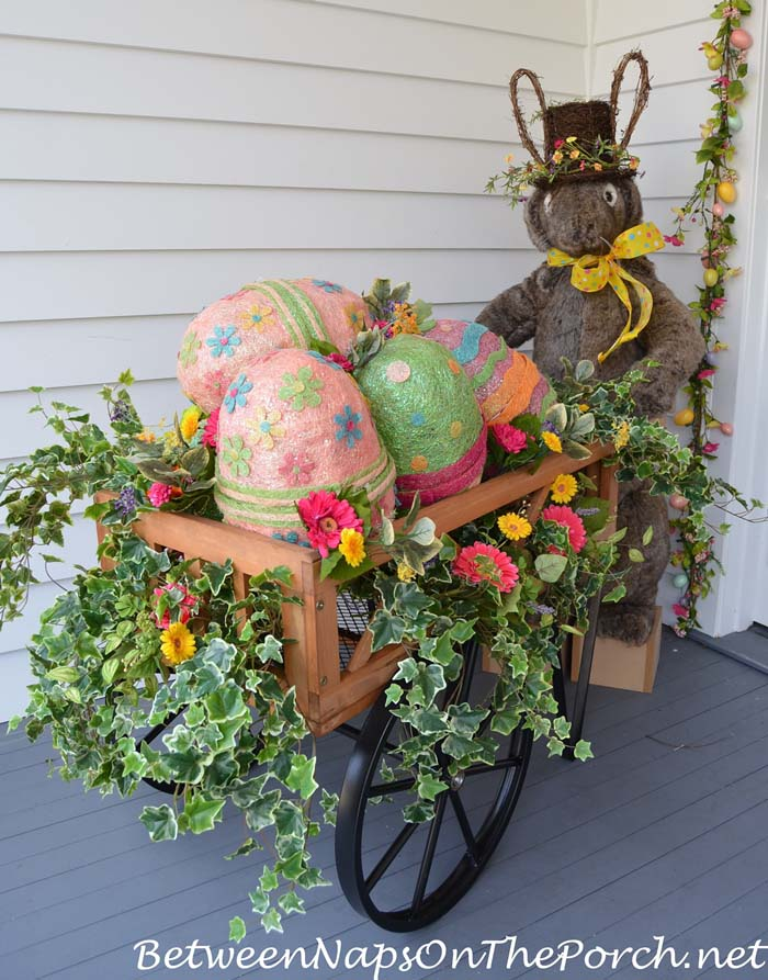 Bunny Pushing a Cart of Easter Eggs #easter #diy #porch #decor #decorhomeideas
