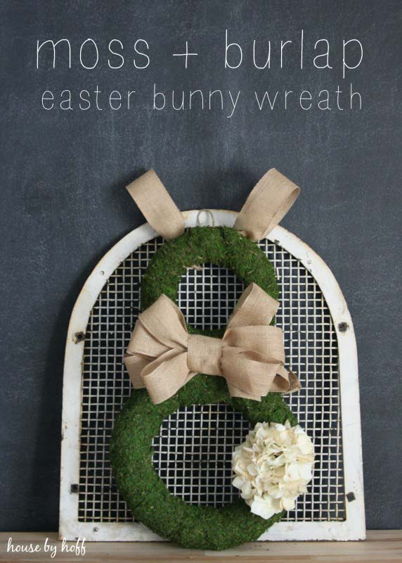 Burlap and Moss Easter Bunny Wreath #easter #diy #porch #decor #decorhomeideas