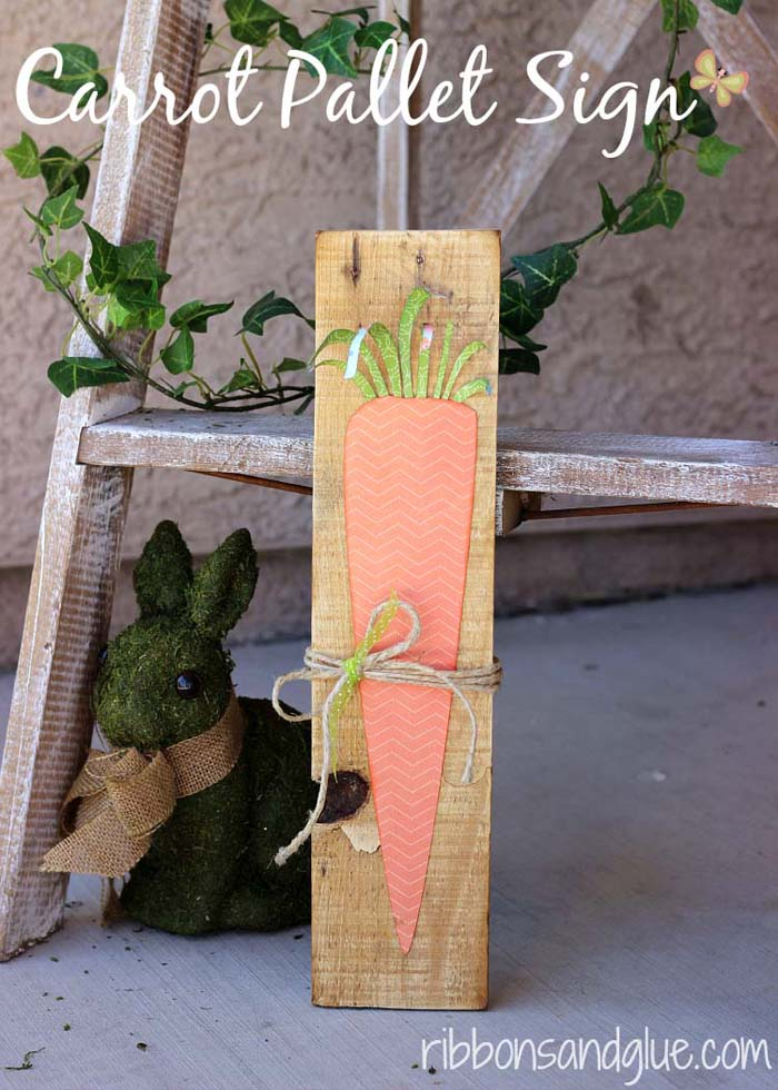 Carrot Pallet Sign #easter #diy #porch #decor #decorhomeideas