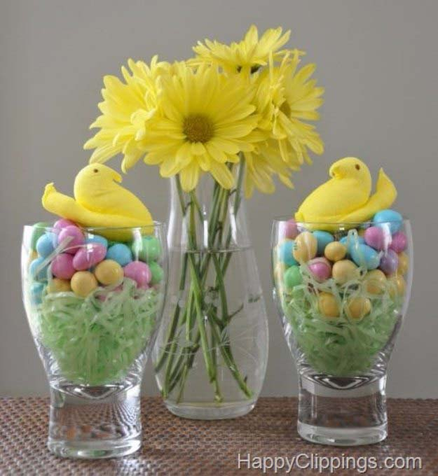 Chicks Candy Centerpiece #easter #diy #cheap #decor #decorhomeideas